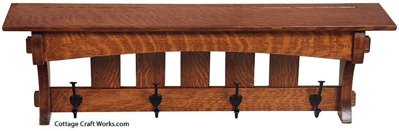 Mission Style Shelf, Coat Rack