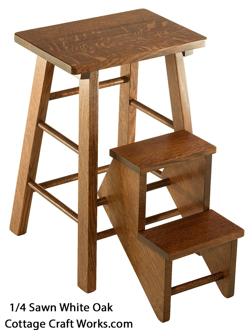 Wooden Folding Step Stool Vintage Reproduction Amish Made