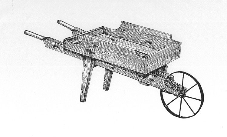 Plans And Hardware Vintage Wooden Metal Wheel Wheelbarrow