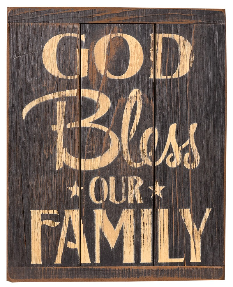 Rustic Sign God Bless Our Family 13104