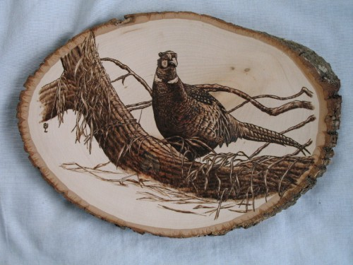 Custom Wood Burning Pheasant