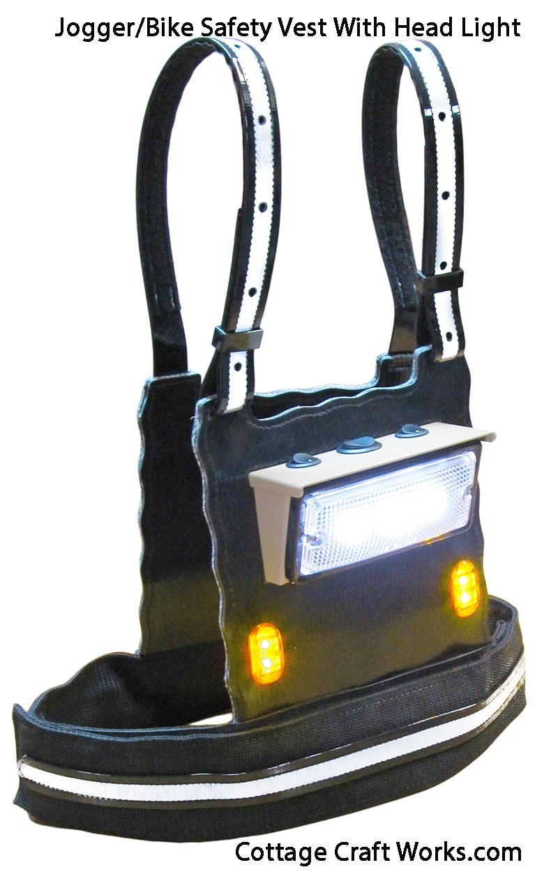 Headlight & Flashing Light Safety Vest | Bike | Jog | Work