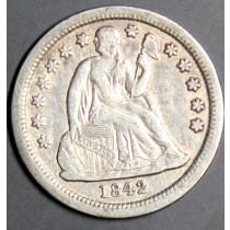 1842 silver seated liberty dime rare coin