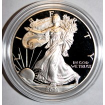 American Silver Eagle  2001 Proof  One Once Fine Silver