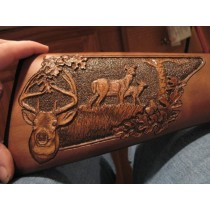 Deer & Doe Wood Gun Stock Carving Close Up