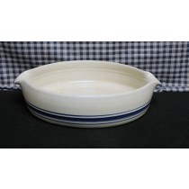 USA Stoneware Pottery | Small Baking Dish Blue Stripe