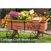 Buckboard Wagon Planter Wood Burning Personalized