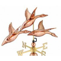 Three Geese In Flight Copper Weathervane