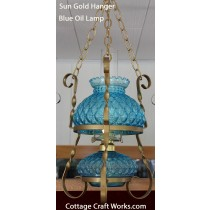 Hanging Quilted Oil Lamp Blue