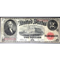 Large 1917 $2 UNITED STATES LEGAL TENDER RED SEAL NOTE 2 DOLLAR