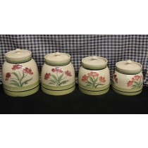USA Stoneware | 4PC Canister Set | Hand Painted Poppy Seed
