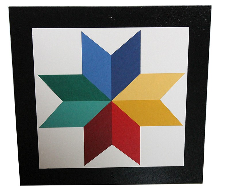 Amish Hand Painted Eight Point Star Barn Quilt