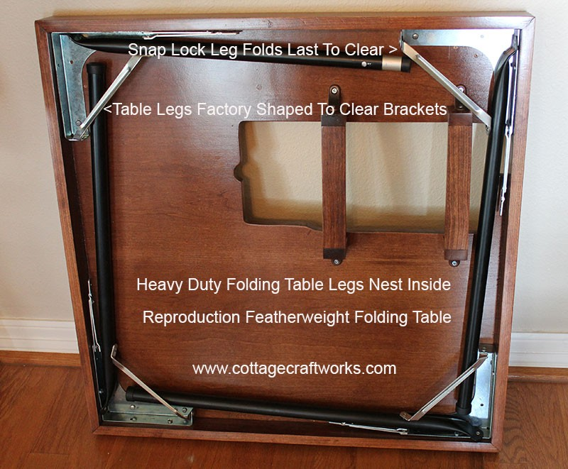 A stunning reproduction Singer Featherweight folding card table.