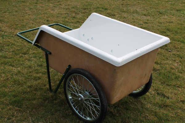 Ez 85 fiberglass tub two wheel wet material cart for Fiberglass garden tub