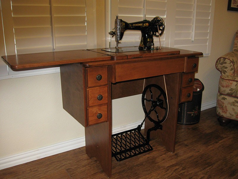 More Views Amish Reproduction Treadle Sewing Cabinet