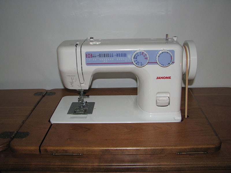 Amish Treadle Cherry Sewing Cabinet for The Janome 712T