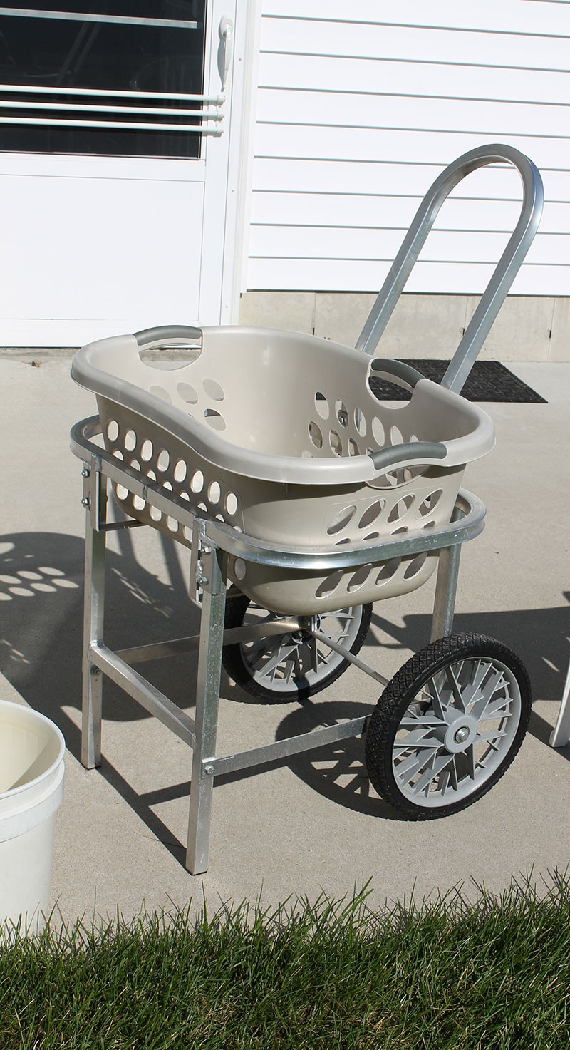 Laundry Basket Cart Aluminum 2 Wheel Cart For Laundry Basket