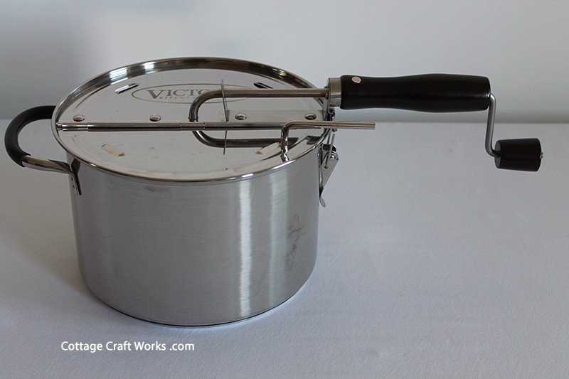 Old Fashioned Stovetop Popcorn Popper Hand Crank Ss
