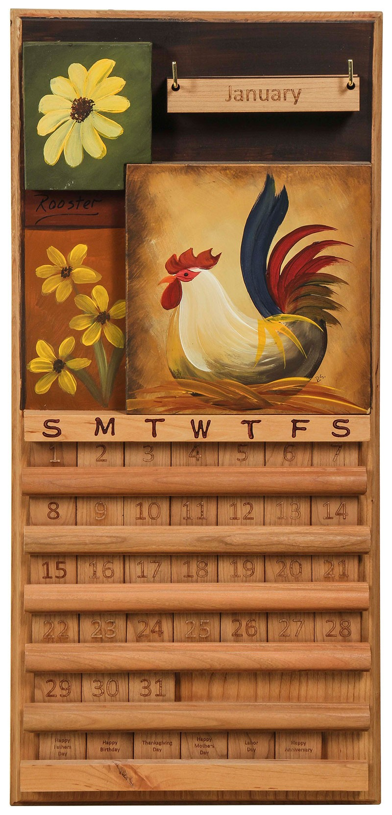 Amish Handcrafted Perpetual Calendar Rooster In Flowers