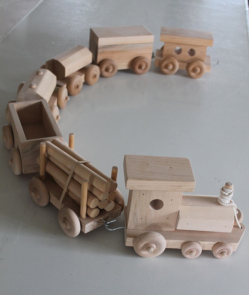 Amish Handcrafted Wooden Toy Train Set