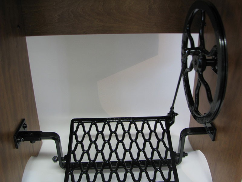 Stunning Oak Reproduction Vintage Treadle Sewing Cabinet