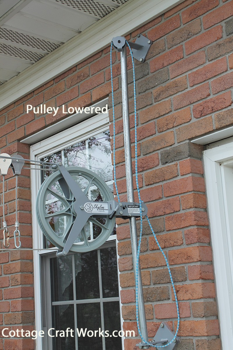 Clothesline Pulley Elevator Pole Raises Wash Lines Up Out