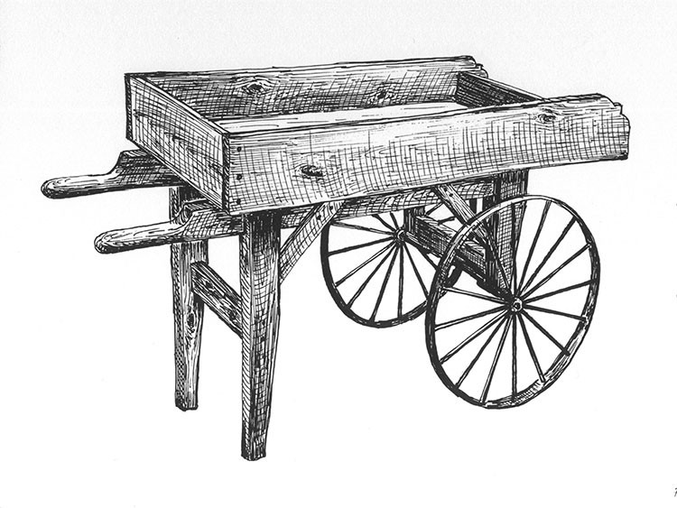 Plans And Hardware, Old Fashioned Wooden Vendor Cart