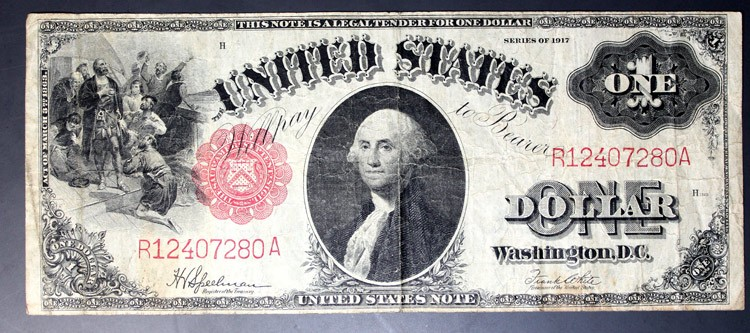 1917 one dollar UNITED STATES bill with red seal