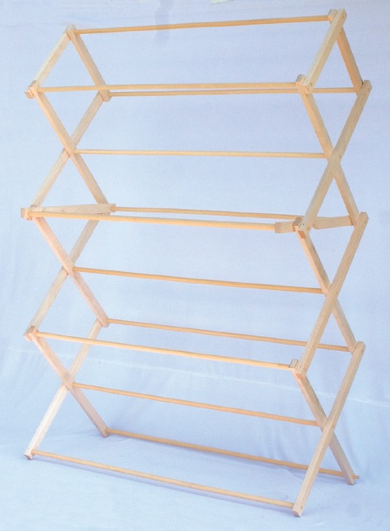 Large Amish Floor Standing Accordion Fold Clothes Drying Rack