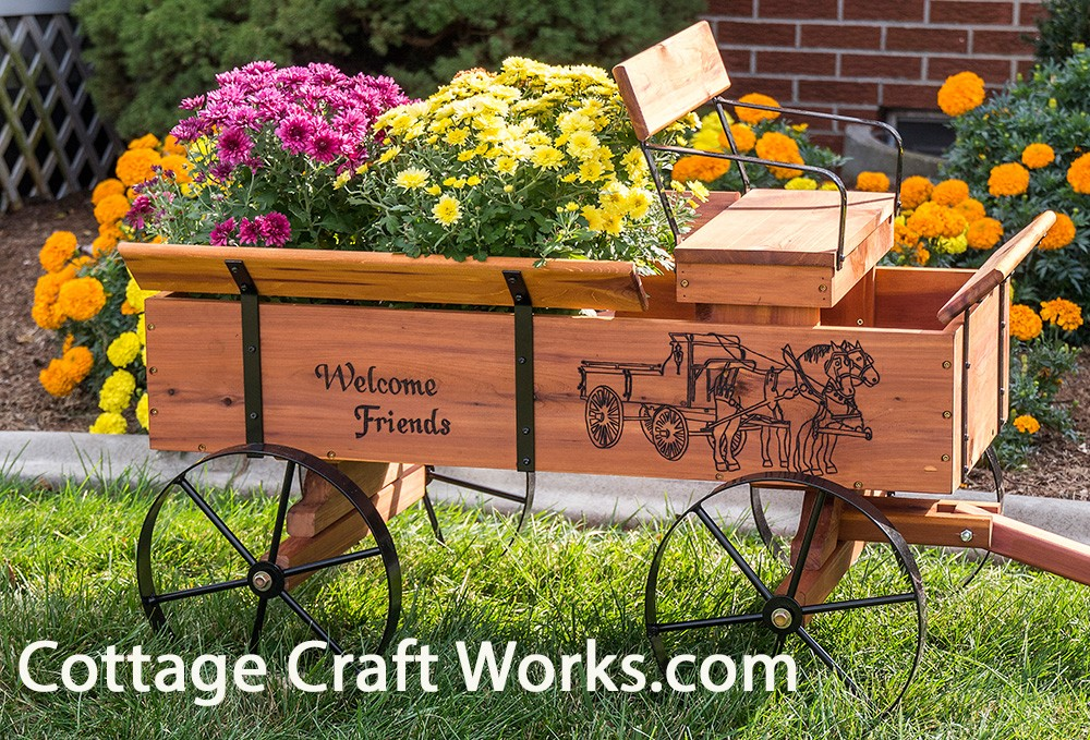 Beautiful Buckboard Wagon Planter Wood Burning Personalized