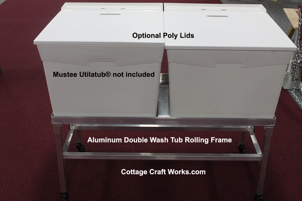 Double Laundry Tub Aluminum Rolling Frame Stand