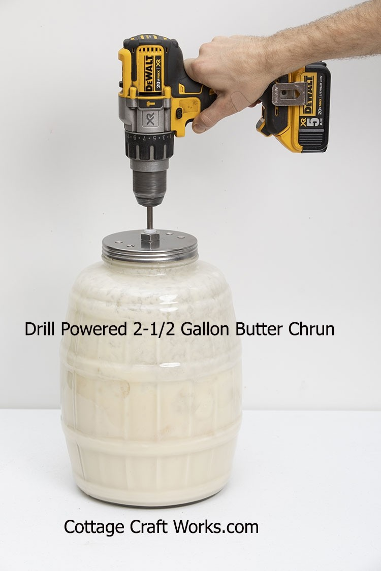 Drill Powered 2.5 Gallon Glass Butter Churn