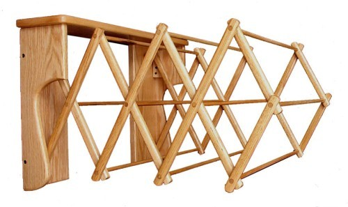 Large Oak Wall Folding Clothes Rack | Drying Racks