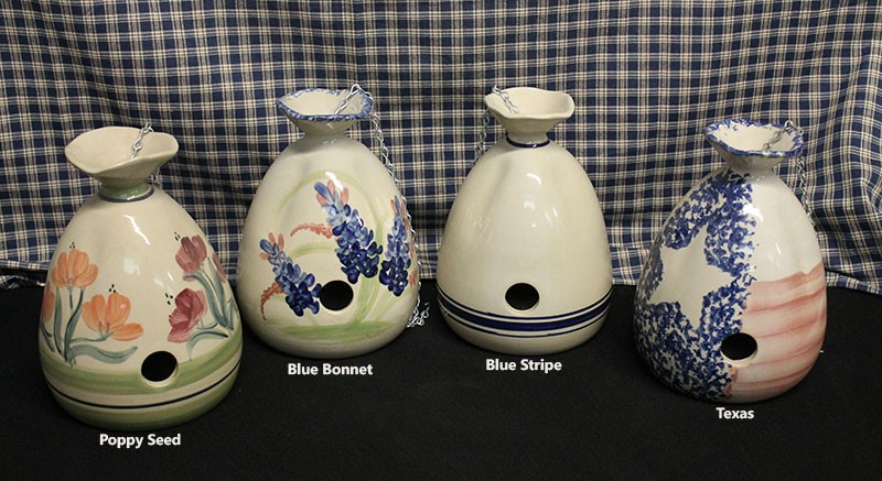 Glazed Pottery Bird Houses Color Options
