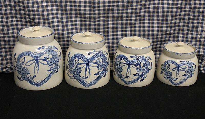 USA Stoneware | 4PC Canister Set | Hand Painted Hearts