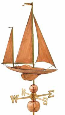 Large Sailboat Copper Weathervane