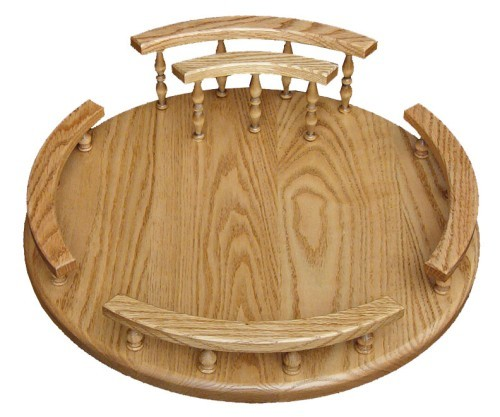 Lazy Susan with Napkin Holder Oak
