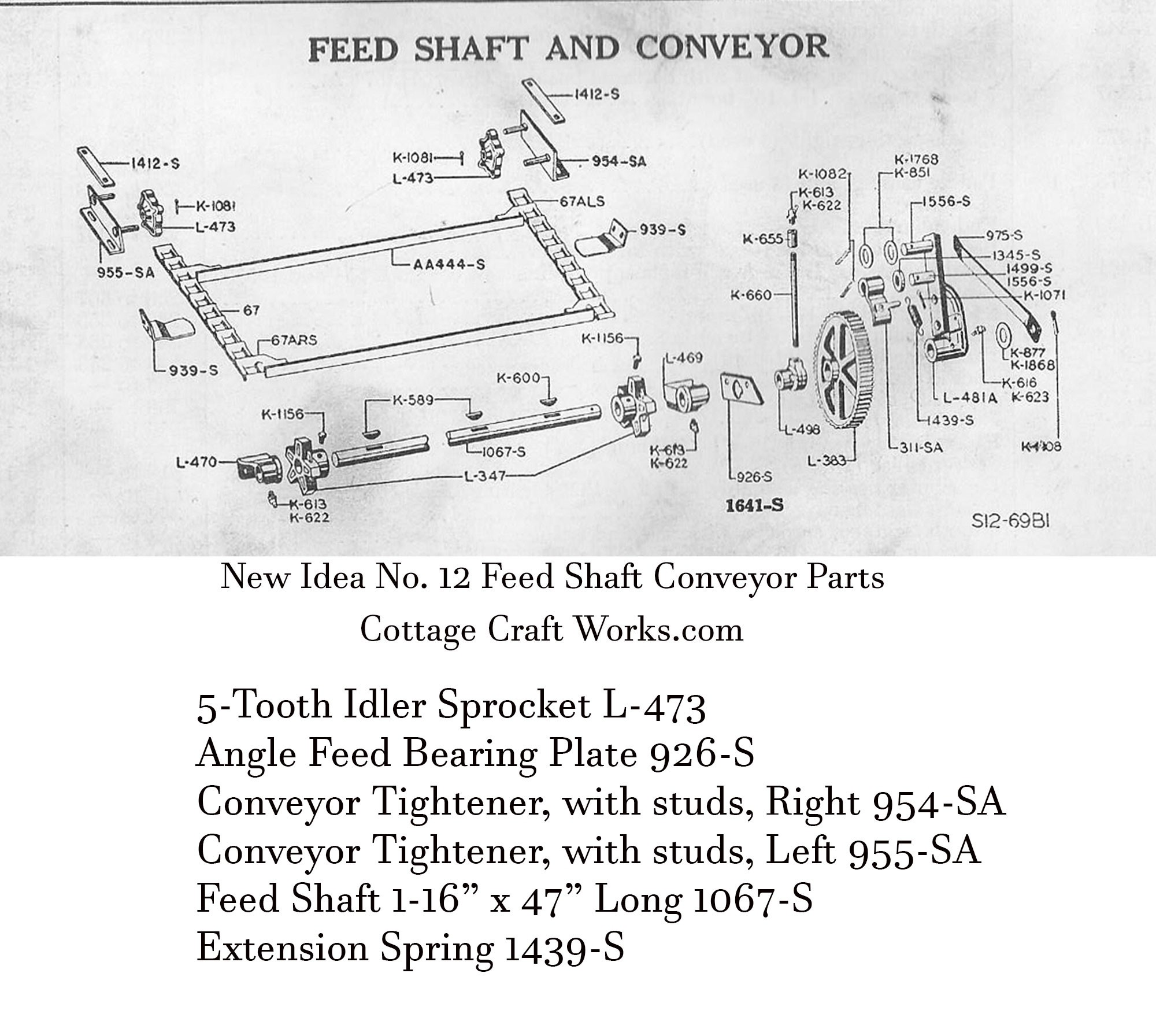 New Idea No. 12 Spreader Feed Shaft & Conveyor Parts