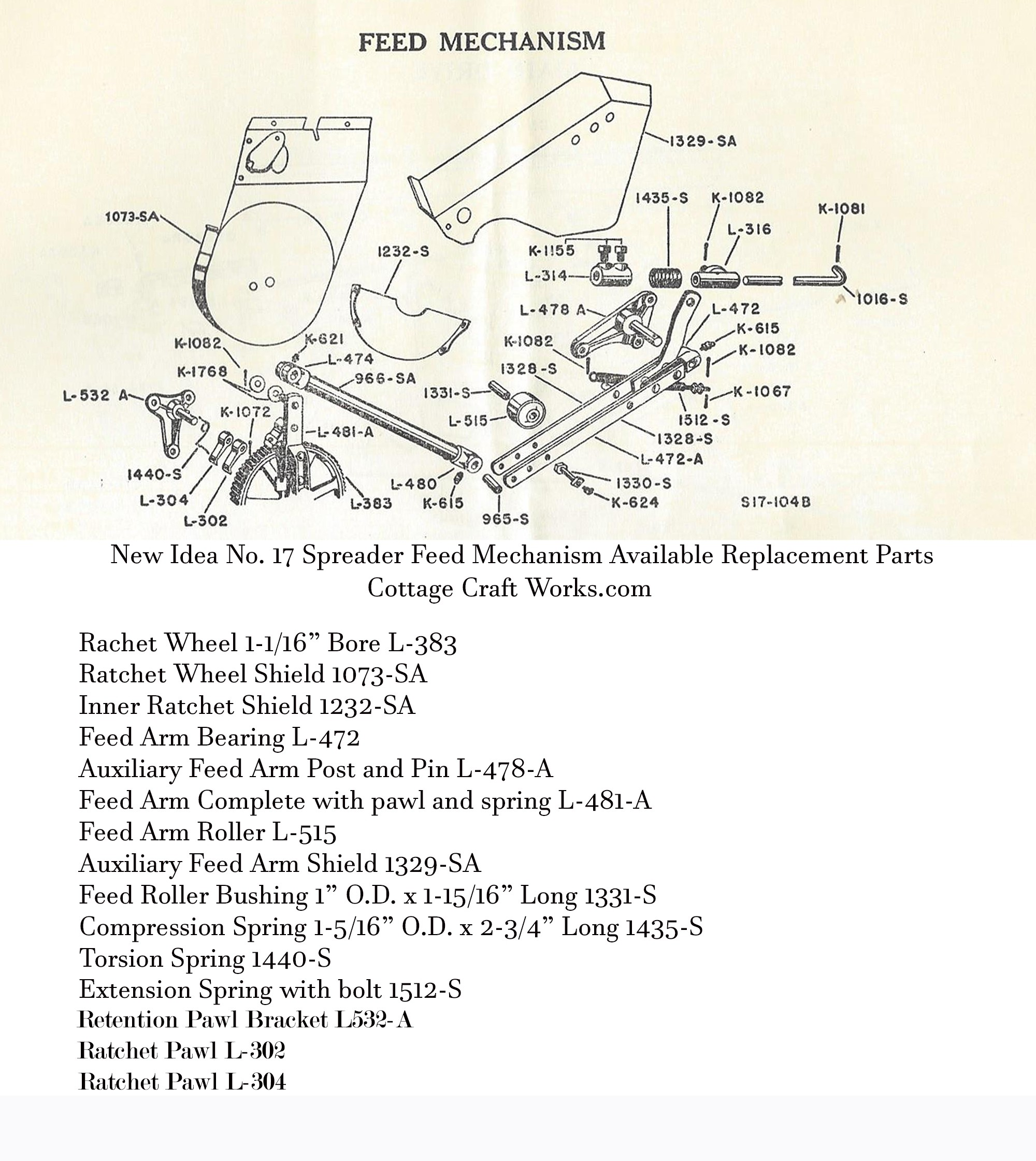 New Idea No. 17 Spreader Feed Mechanism Parts