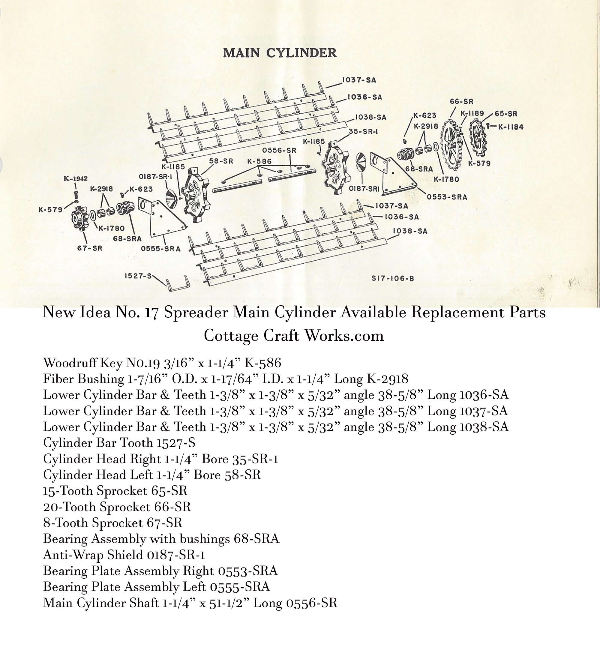 New Idea No. 17 Main Cylinder Replacement Parts