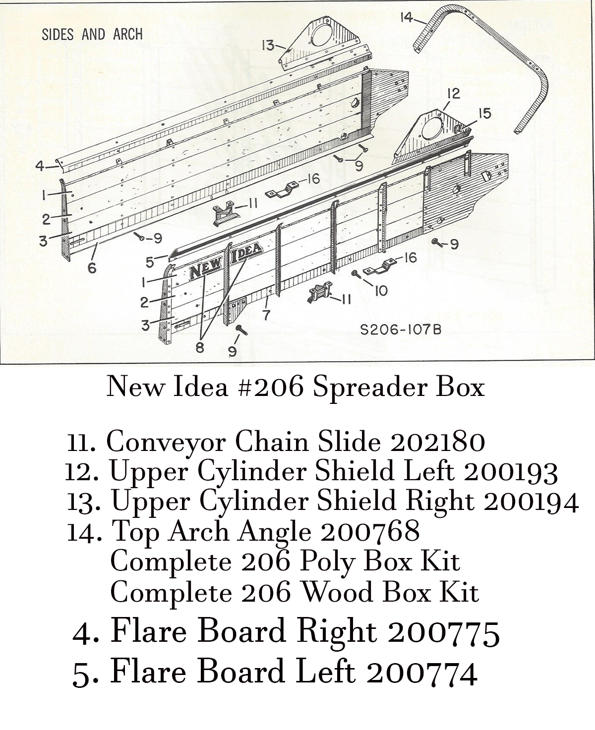 New Idea No. 206 Manure Spreader Box Parts