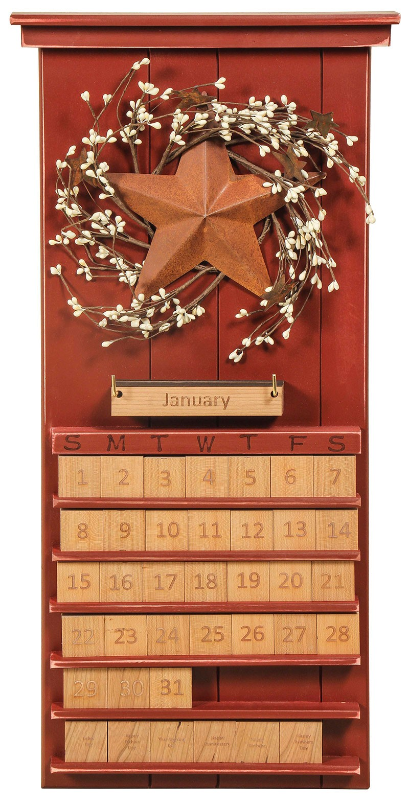 amish handcrafted perpetual calendar  stars  u0026 berries theme