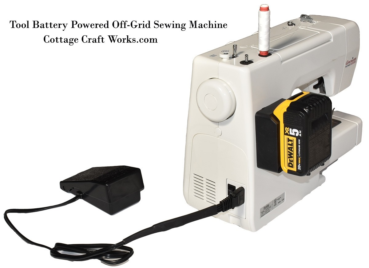 Tool Battery Powered Off-Grid Sewing Machine