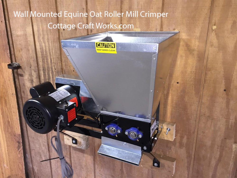 Wall Mounted Equine Oat Crimper Roller Mill