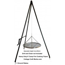 Heavy Duty Winched Campfire Cooking Tripod