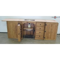 Solid hardwood handcrafted heirloom sewing cabinets.