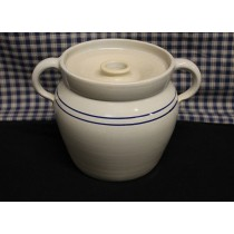 USA Stoneware Pottery | Baked  Bean | Stew | Crock Pot Blue Stripe