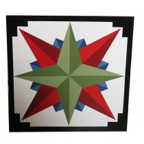 Barn Quilt Mariner's Compass Green