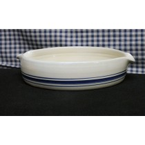 USA Stoneware Pottery | Medium Baking Dish Blue Stripe
