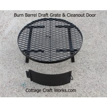 Burn barrel bottom grate, draft, and ash door kit